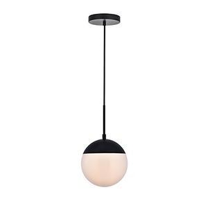 Eclipse Black and Frosted White One-Light Mini Pendant
