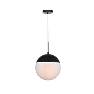 Eclipse Black and Frosted White 12-Inch One-Light Pendant