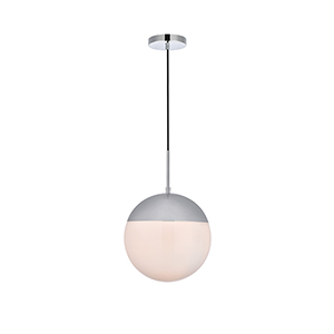 Eclipse Chrome and Frosted White 12-Inch One-Light Pendant