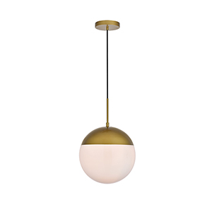 Eclipse Brass and Frosted White 12-Inch One-Light Pendant
