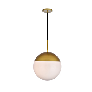 Eclipse Brass and Frosted White 14-Inch One-Light Pendant