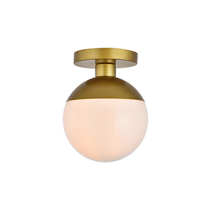 Eclipse Brass and Frosted White Eight-Inch One-Light Semi-Flush Mount