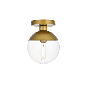 Eclipse Brass Eight-Inch One-Light Semi-Flush Mount
