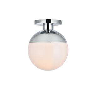 Eclipse Chrome and Frosted White 12-Inch One-Light Semi-Flush Mount