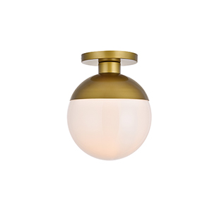 Eclipse Brass and Frosted White 12-Inch One-Light Semi-Flush Mount