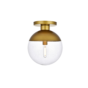 Eclipse Brass 12-Inch One-Light Semi-Flush Mount