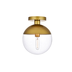 Eclipse Brass 10-Inch One-Light Semi-Flush Mount