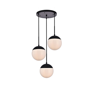 Eclipse Black and Frosted White 18-Inch Three-Light Pendant