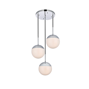 Eclipse Chrome and Frosted White 18-Inch Three-Light Pendant