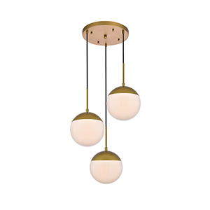 Eclipse Brass and Frosted White 18-Inch Three-Light Pendant