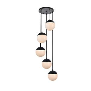 Eclipse Black and Frosted White 18-Inch Five-Light Pendant