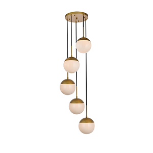 Eclipse Brass and Frosted White 18-Inch Five-Light Pendant