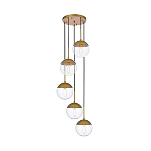 Eclipse Brass 18-Inch Five-Light Pendant