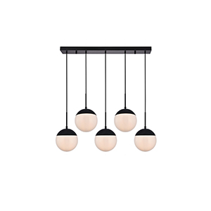 Eclipse Black and Frosted White Eight-Inch Five-Light Mini Pendant