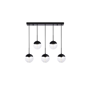 Eclipse Black Eight-Inch Five-Light Mini Pendant