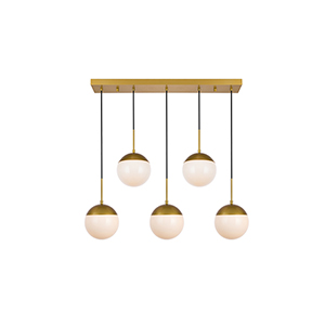 Eclipse Brass and Frosted White Eight-Inch Five-Light Mini Pendant