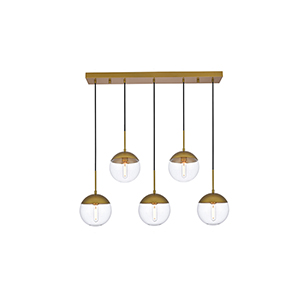 Eclipse Brass Eight-Inch Five-Light Mini Pendant