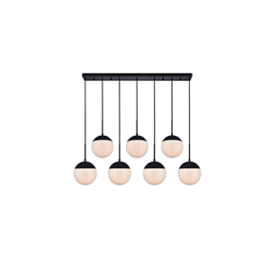 Eclipse Black and Frosted White Eight-Inch Seven-Light Mini Pendant
