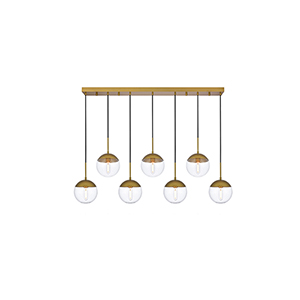 Eclipse Brass Eight-Inch Seven-Light Mini Pendant
