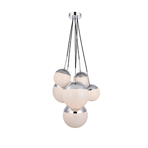 Eclipse Chrome and Frosted White 28-Inch Six-Light Pendant