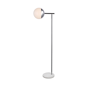 Eclipse Chrome and Frosted White 50-Inch One-Light Floor Lamp