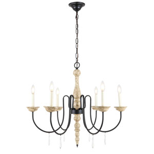 Porter Weathered Dove and Black 30-Inch Six-Light Chandelier