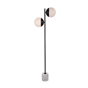 Eclipse Black and Frosted White Two-Light Floor Lamp