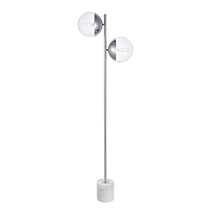 Eclipse Chrome Two-Light Floor Lamp