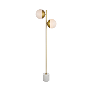 Eclipse Brass and Frosted White Two-Light Floor Lamp