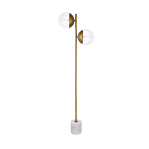 Eclipse Brass Two-Light Floor Lamp