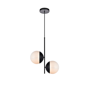 Eclipse Black and Frosted White Two-Light Mini Pendant