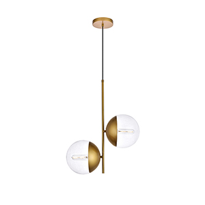 Eclipse Brass Two-Light Mini Pendant