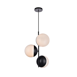 Eclipse Black and Frosted White 17-Inch Three-Light Pendant