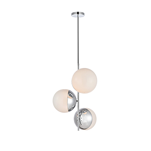 Eclipse Chrome and Frosted White 17-Inch Three-Light Pendant