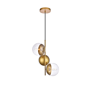 Eclipse Brass 17-Inch Three-Light Pendant