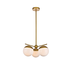 Eclipse Brass and Frosted White 21-Inch Three-Light Pendant