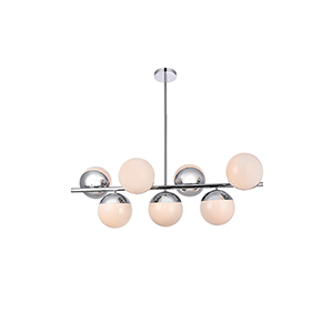 Eclipse Chrome and Frosted White 17-Inch Seven-Light Pendant