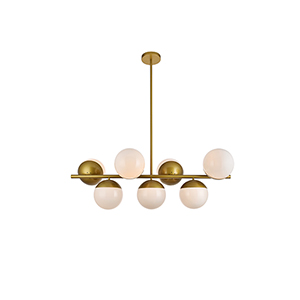 Eclipse Brass and Frosted White 17-Inch Seven-Light Pendant