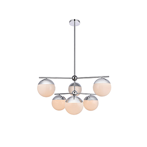 Eclipse Chrome and Frosted White 36-Inch Six-Light Pendant