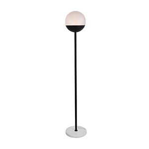 Eclipse Black and Frosted White 62-Inch One-Light Floor Lamp