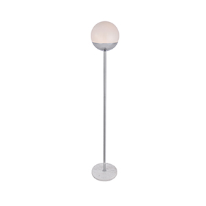 Eclipse Chrome and Frosted White 62-Inch One-Light Floor Lamp