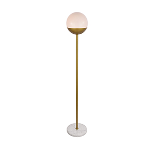 Eclipse Brass and Frosted White 62-Inch One-Light Floor Lamp