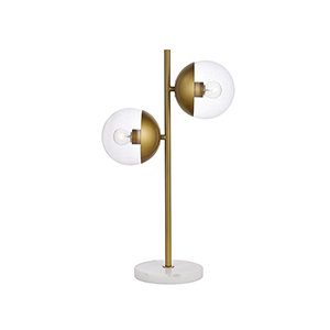 Eclipse Brass Two-Light Table Lamp