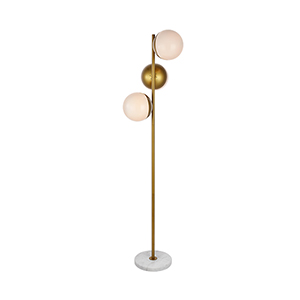 Eclipse Brass and Frosted White Three-Light Floor Lamp