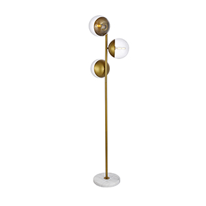 Eclipse Brass Three-Light Floor Lamp