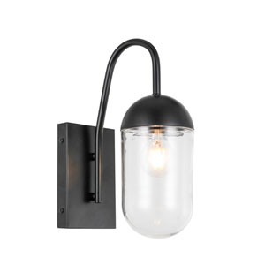 Kace Black One-Light Wall Sconce with Clear Glass