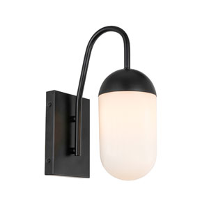 Kace Black One-Light Wall Sconce with Frosted White Glass