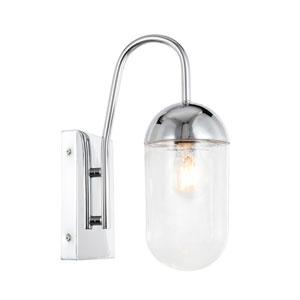 Kace Chrome Five-Inch One-Light Wall Sconce with Clear Glass