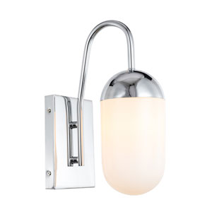 Kace Chrome Five-Inch One-Light Wall Sconce with Frosted White Glass