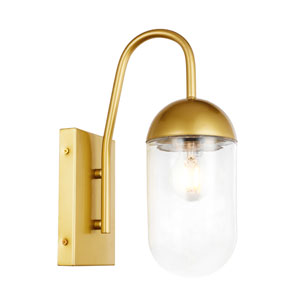 Kace Brass Five-Inch One-Light Wall Sconce with Clear Glass